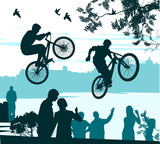 two cyclists perform a leap over the crowd of spectators poster