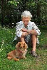 Senior lady and dog