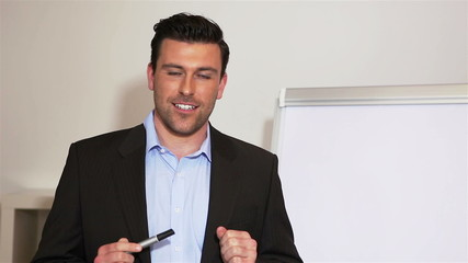 Business man with flipchart