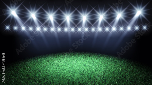 Sports arena spotlights and turf , 3d illustration