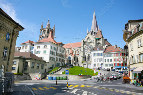 The historic center of Laussane, in Switzerland