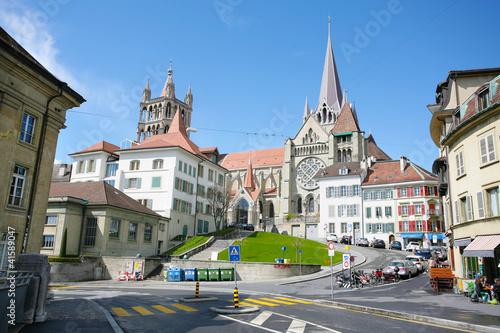 The historic center of Laussane, in Switzerland
