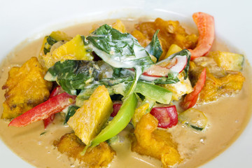Thai Fried Salmon Fish Pumpkin Curry Closeup