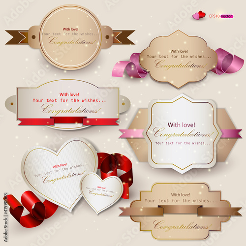 Collection of gift cards with ribbons. Vector background