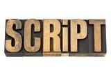 script - word in letterpress wood type poster