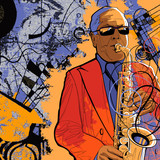 Fototapety saxophonist on a grunge background