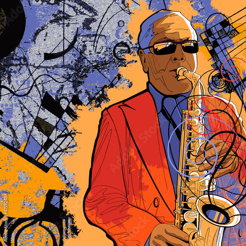 saxophonist on a grunge background
