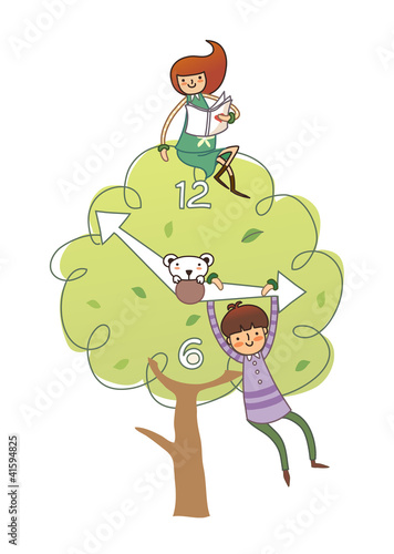 Girl sitting on tree and boy hanging on clock hand