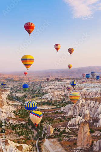 Hot air balloon flying over Cappadocia Turkey - 41595054