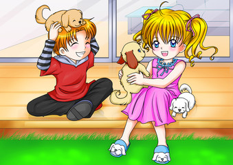 Cartoon illustration of a boy and a girl playing with puppies