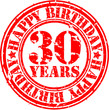 30 years happy birthday rubber stamp