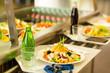 Leinwanddruck Bild - Canteen serving tray healthy food fresh salad