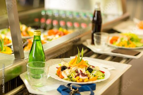 Leinwanddruck Bild Canteen serving tray healthy food fresh salad