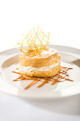 Delicious creamy dessert with caramel topping