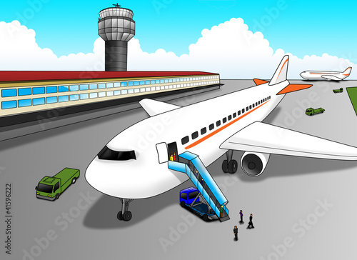Aluminium Vliegtuigen, ballon Cartoon illustration of airport