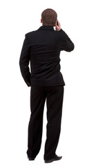 back  view people collection. Rear view of business man in black