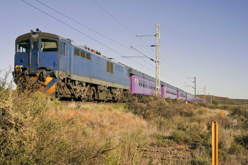 Train in Karoo between Cape Town and Johannesburg South Africa