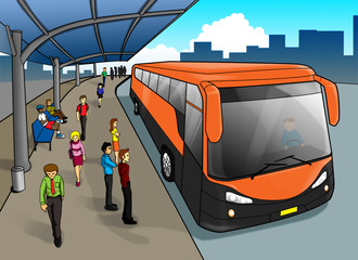Cartoon illustration of a bus stop