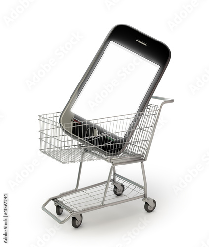 Smartphone in a shopping cart