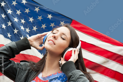 Learning language - American English (girl with headphones)