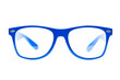 blue nerd Glasses on white background with clipping path