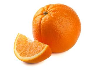 one orange, and a slice of orange on white background