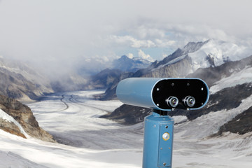 binoculars over Aletsch glacier, Switzerland