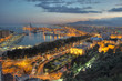 Malaga city lights - aerial view