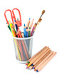 color pencils with brushes isolated on the white