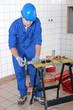 Tradesman working in a workshop