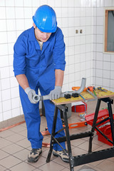 Tradesman working in a workshop
