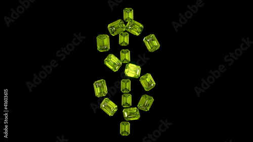 Diamonds US dollar symbol assembling with slow motion. Alpha