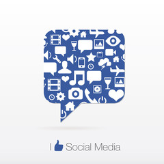 social media icon vector set with bubble