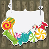 Sweets on wooden background