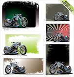 Retro motorcycle background set