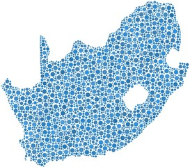 Map of South Africa in a mosaic of blue circles