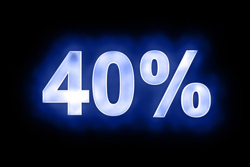 40 percent in glowing numerals on blue