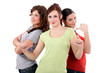 Three women giving the thumbs-up