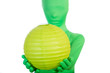 Green alien like person holding a moon lantern