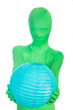 Green Person holding a blue moon lantern
