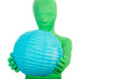 Green Person with a Blue Ball