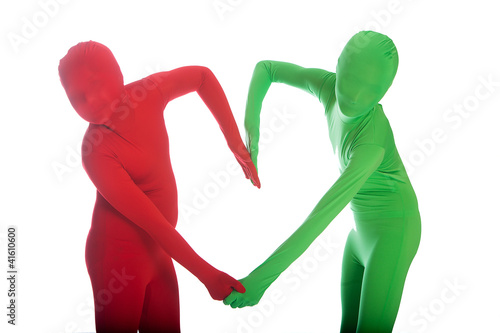 Green and Red people making a heart shape with their arms