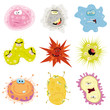 Cartoon Germs, Virus And Microbes