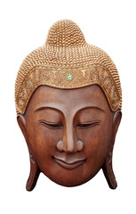 CLIPPING PART  Wood ancient Buddha face on white background