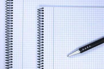 Bloc de notas, bolígrafo, página en blanco, espiral
