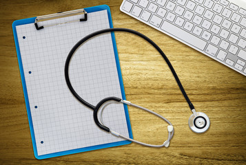 stethoscope clipboard computer