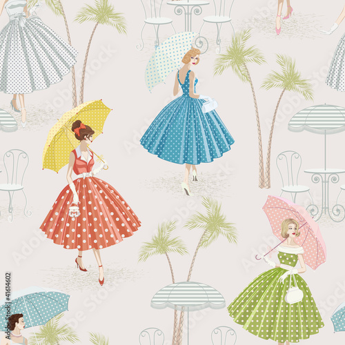 Background with women walking with parasols