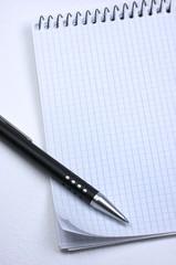 Bloc de notas, bolígrafo, en blanco