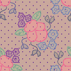 Violet lace vector fabric seamless pattern