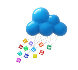 3d  blue cloud computing database network isolated icons